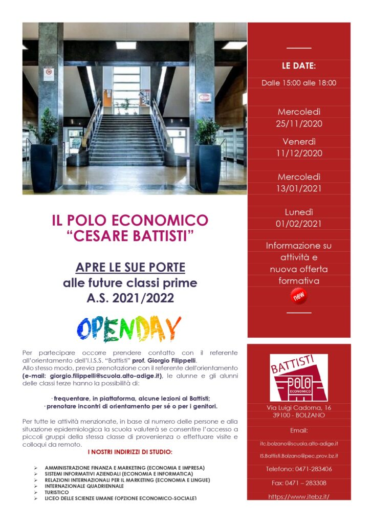 Polo economico Cesare Battisti Open Day